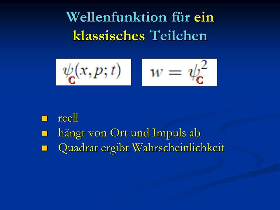 Wellenfunktion für ein klassisches Teilchen