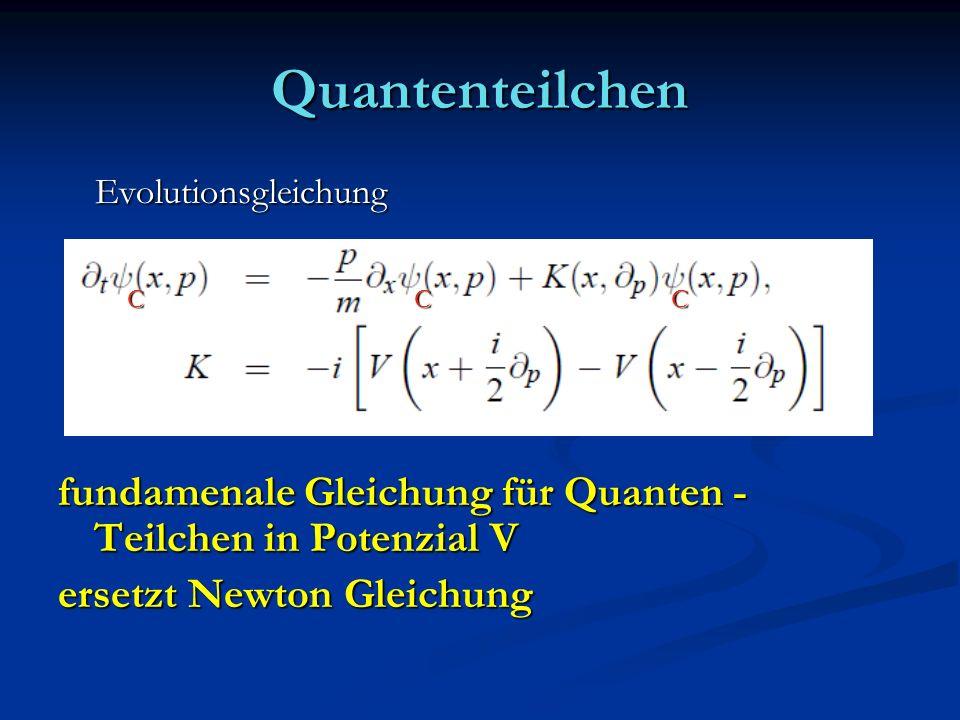Quantenteilchen Evolutionsgleichung. fundamenale Gleichung für Quanten -Teilchen in Potenzial V. ersetzt Newton Gleichung.