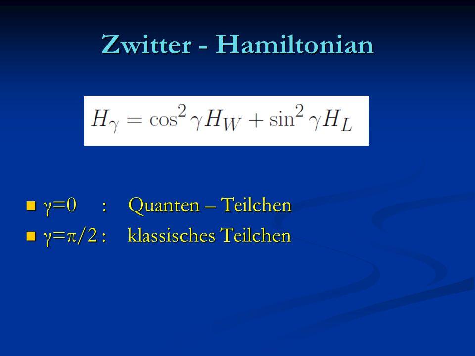 Zwitter - Hamiltonian γ=0 : Quanten – Teilchen