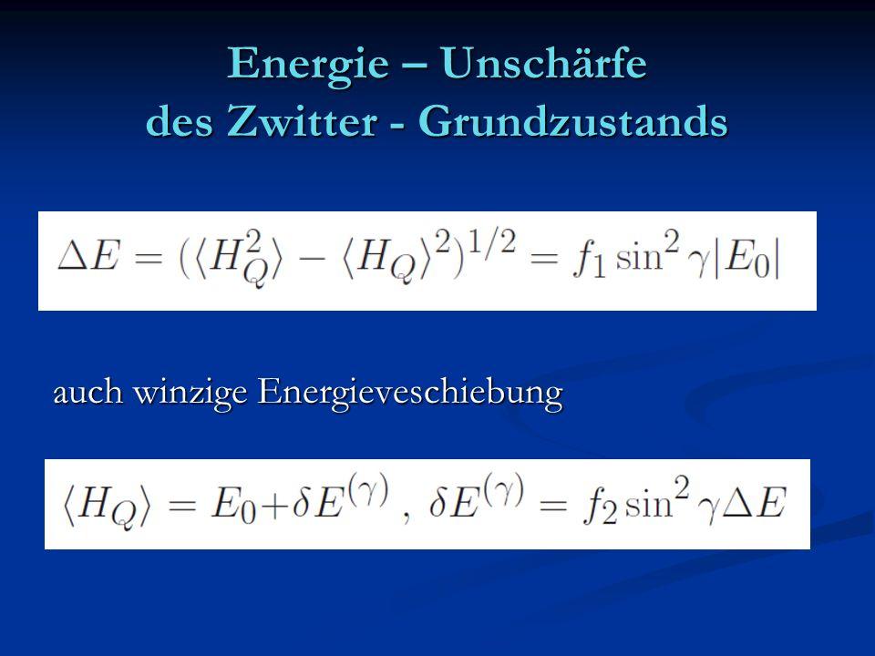 Energie – Unschärfe des Zwitter - Grundzustands