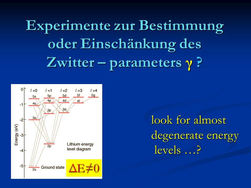 Experimente zur Bestimmung oder Einschänkung des Zwitter – parameters γ