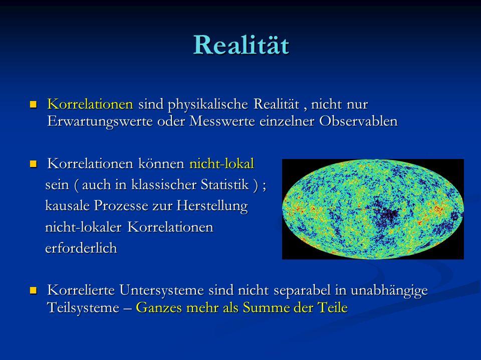Realität Korrelationen sind physikalische Realität , nicht nur Erwartungswerte oder Messwerte einzelner Observablen.