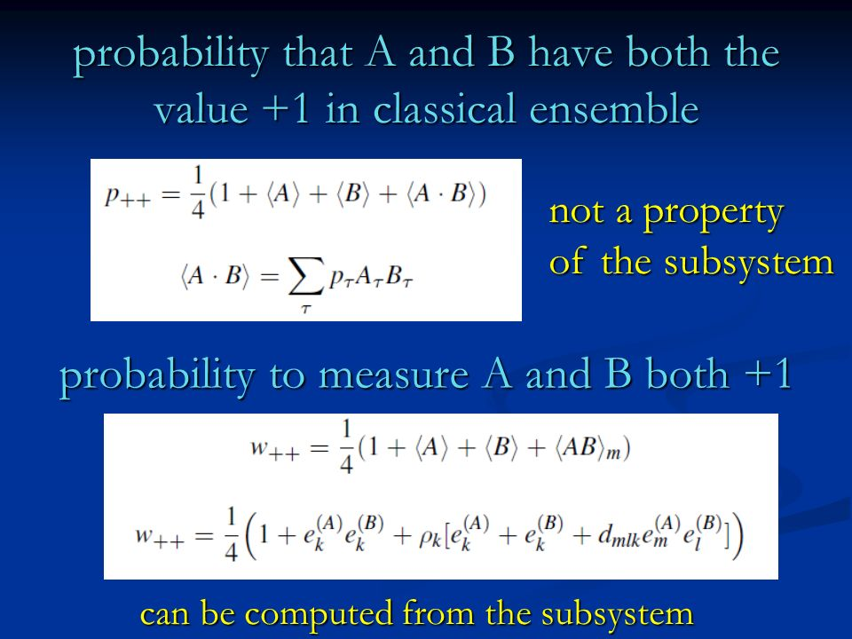 probability that A and B have both the value +1 in classical ensemble