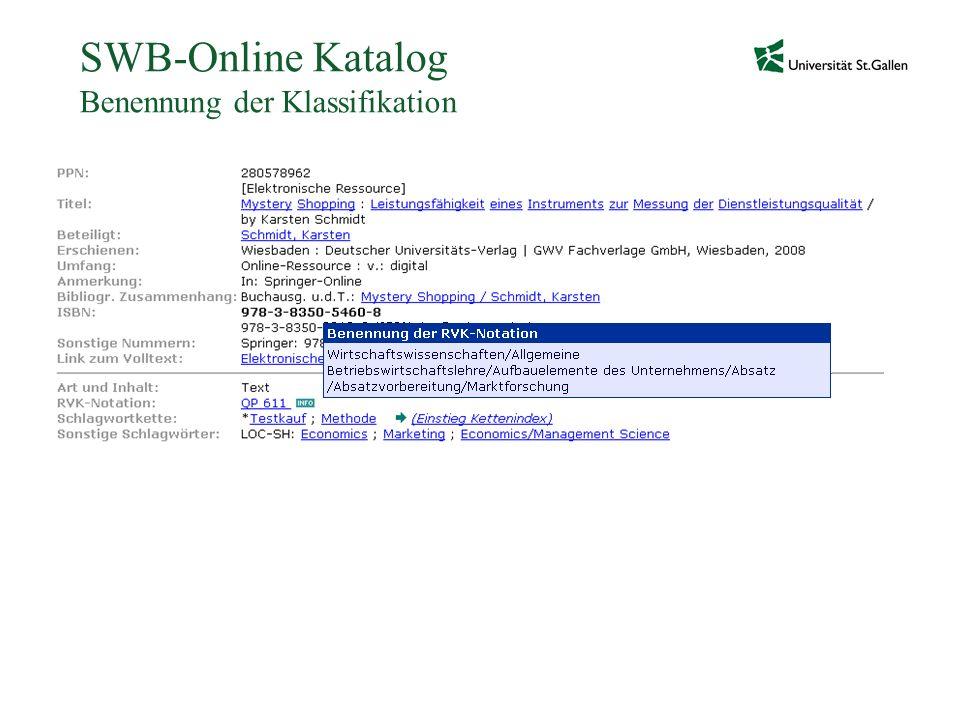 SWB-Online Katalog Benennung der Klassifikation