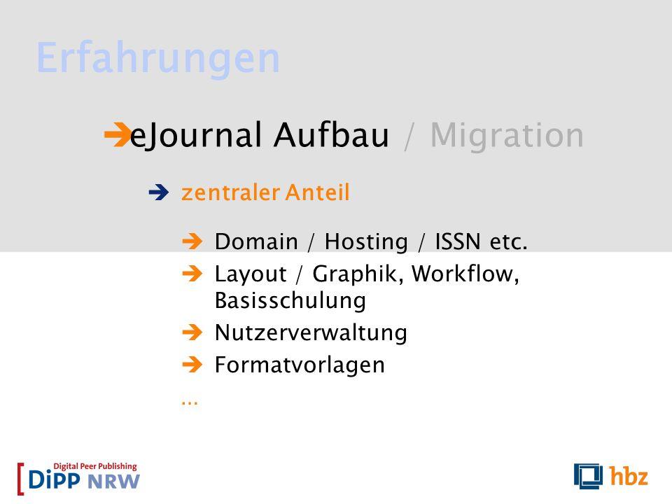 Erfahrungen eJournal Aufbau / Migration zentraler Anteil