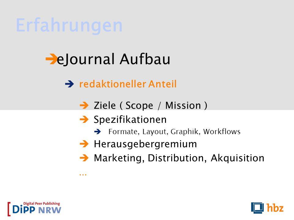 Erfahrungen eJournal Aufbau redaktioneller Anteil