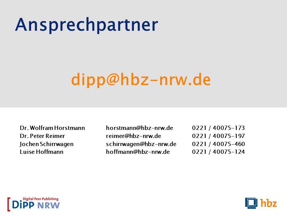 Ansprechpartner dipp@hbz-nrw.de
