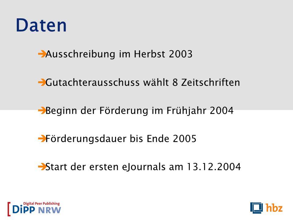 Daten Ausschreibung im Herbst 2003