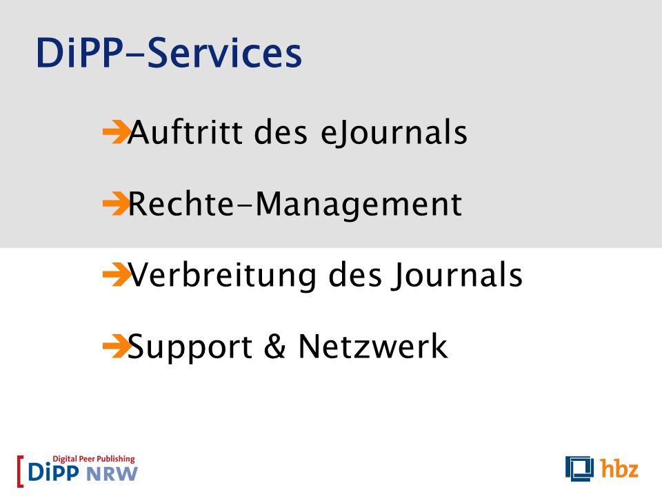 DiPP-Services Auftritt des eJournals Rechte-Management