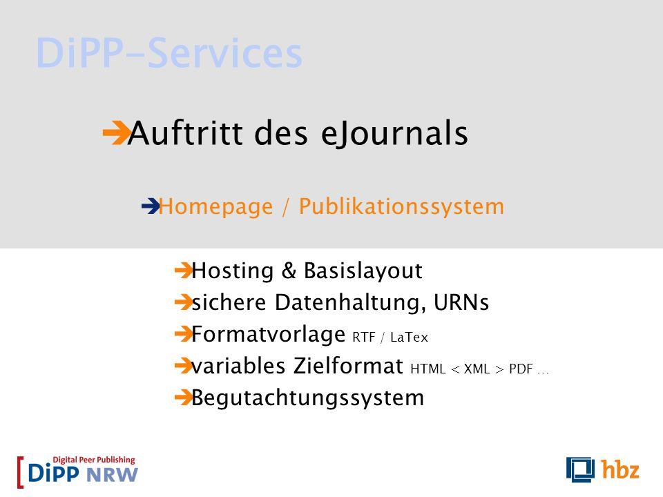 DiPP-Services Auftritt des eJournals Homepage / Publikationssystem