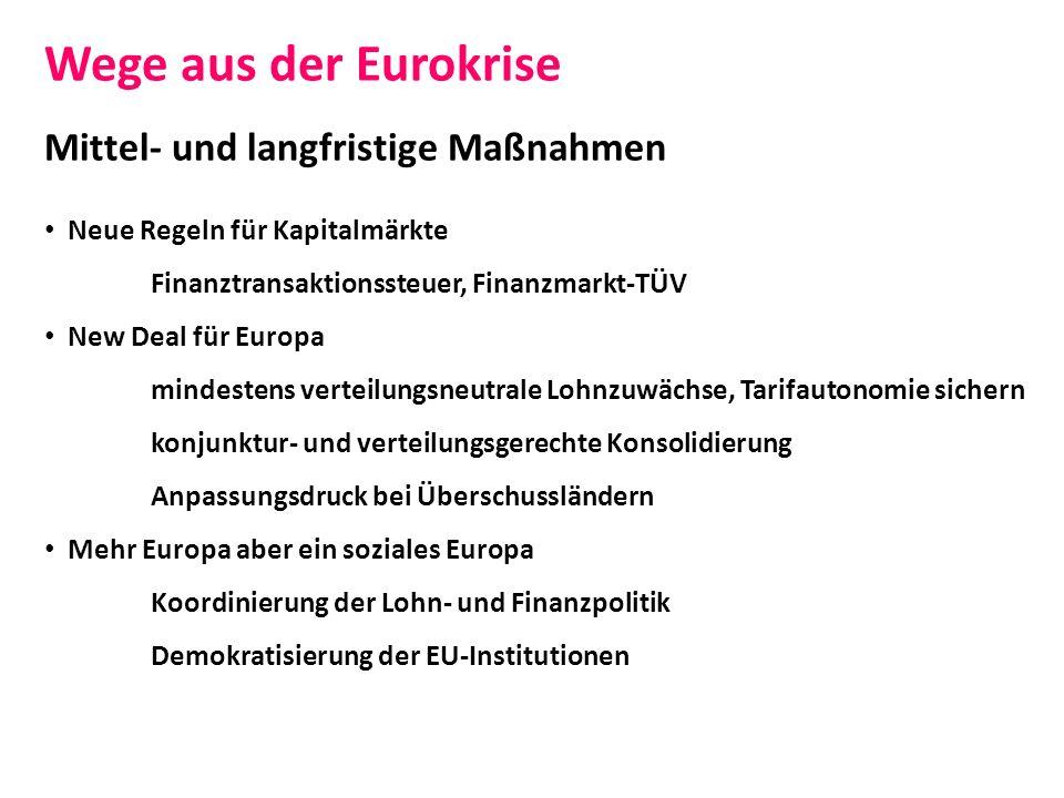 Wege aus der Eurokrise Mittel- und langfristige Maßnahmen