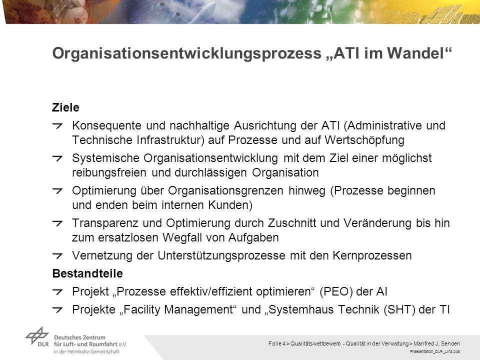 """Organisationsentwicklungsprozess """"ATI im Wandel"""