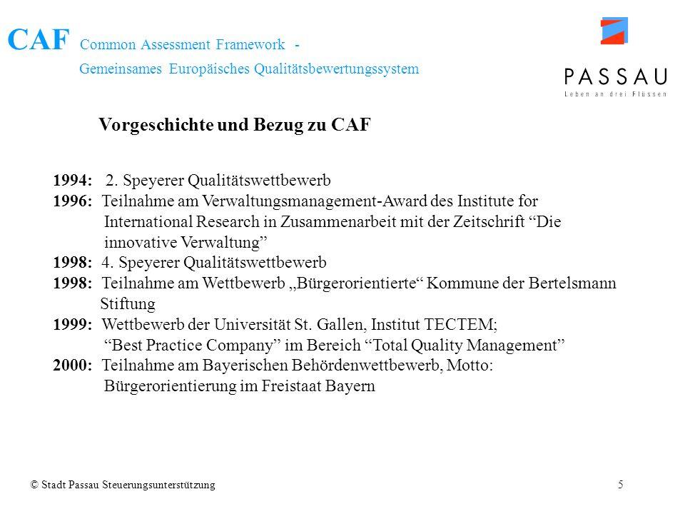 CAF Common Assessment Framework - Gemeinsames Europäisches Qualitätsbewertungssystem