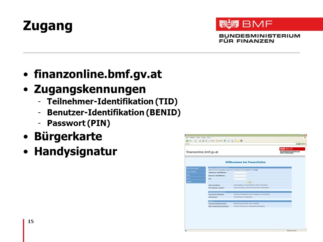 Zugang finanzonline.bmf.gv.at Zugangskennungen Bürgerkarte