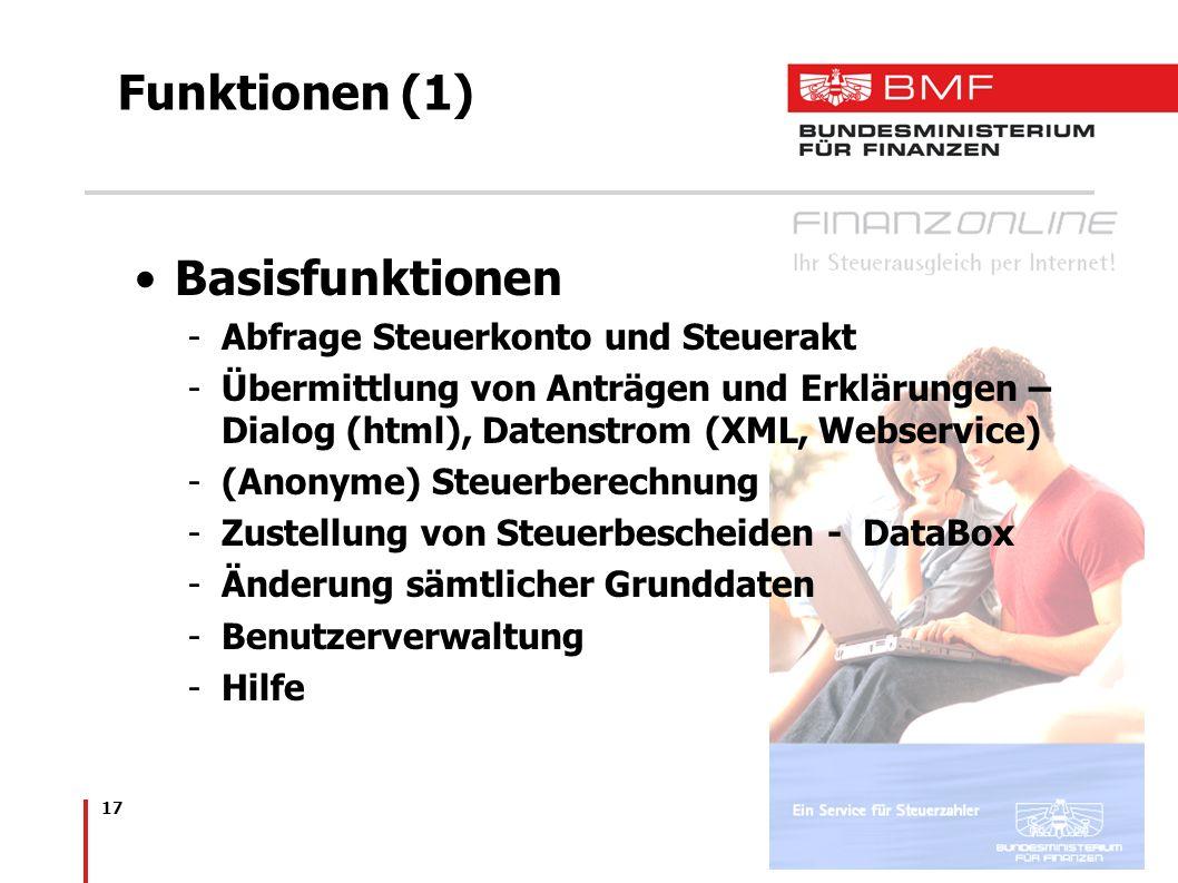 Funktionen (1) Basisfunktionen Abfrage Steuerkonto und Steuerakt