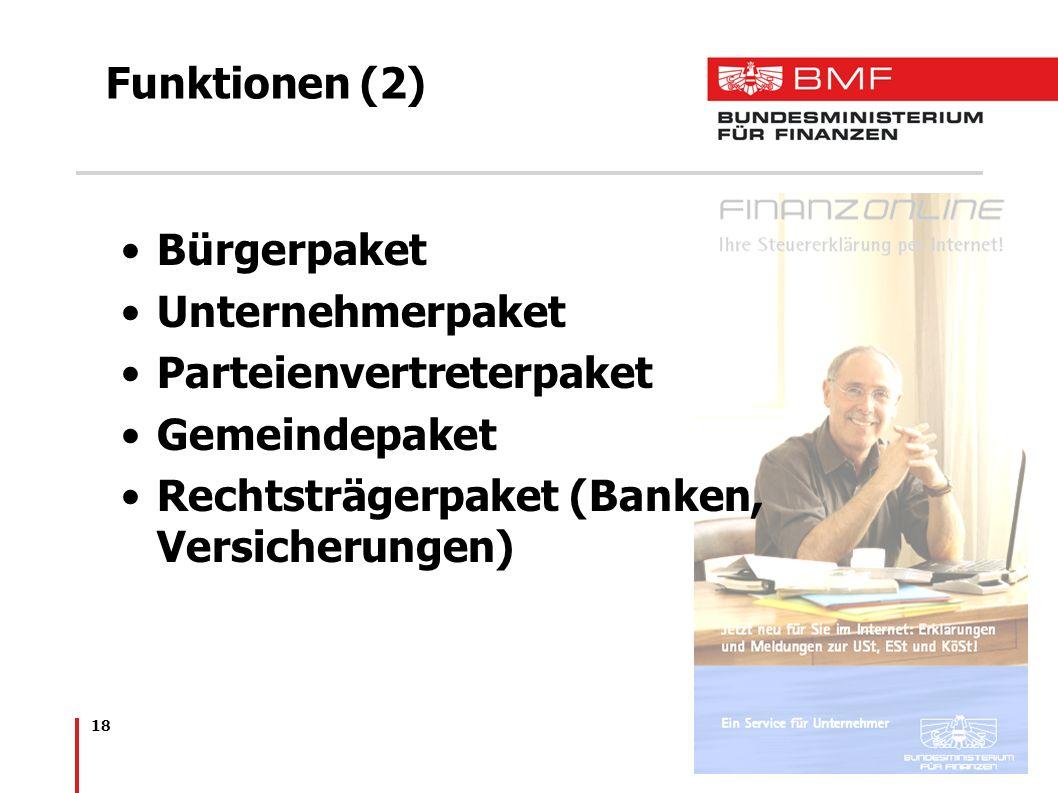 Funktionen (2) Bürgerpaket. Unternehmerpaket. Parteienvertreterpaket.