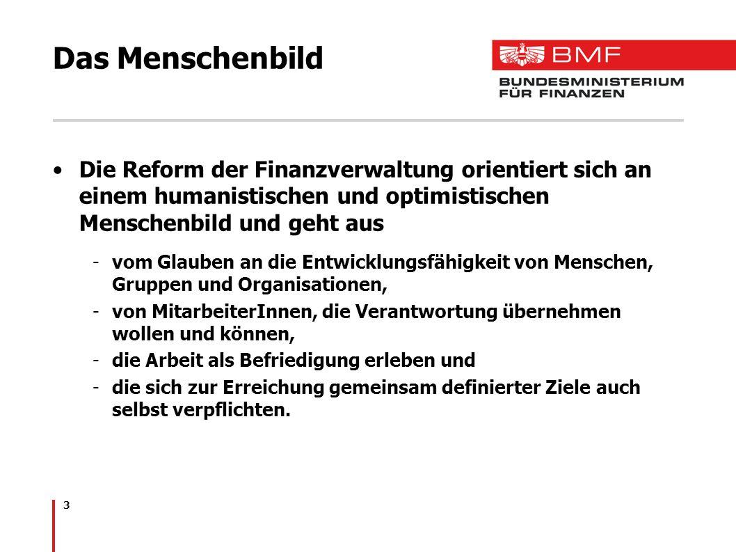 Das Menschenbild Die Reform der Finanzverwaltung orientiert sich an einem humanistischen und optimistischen Menschenbild und geht aus.
