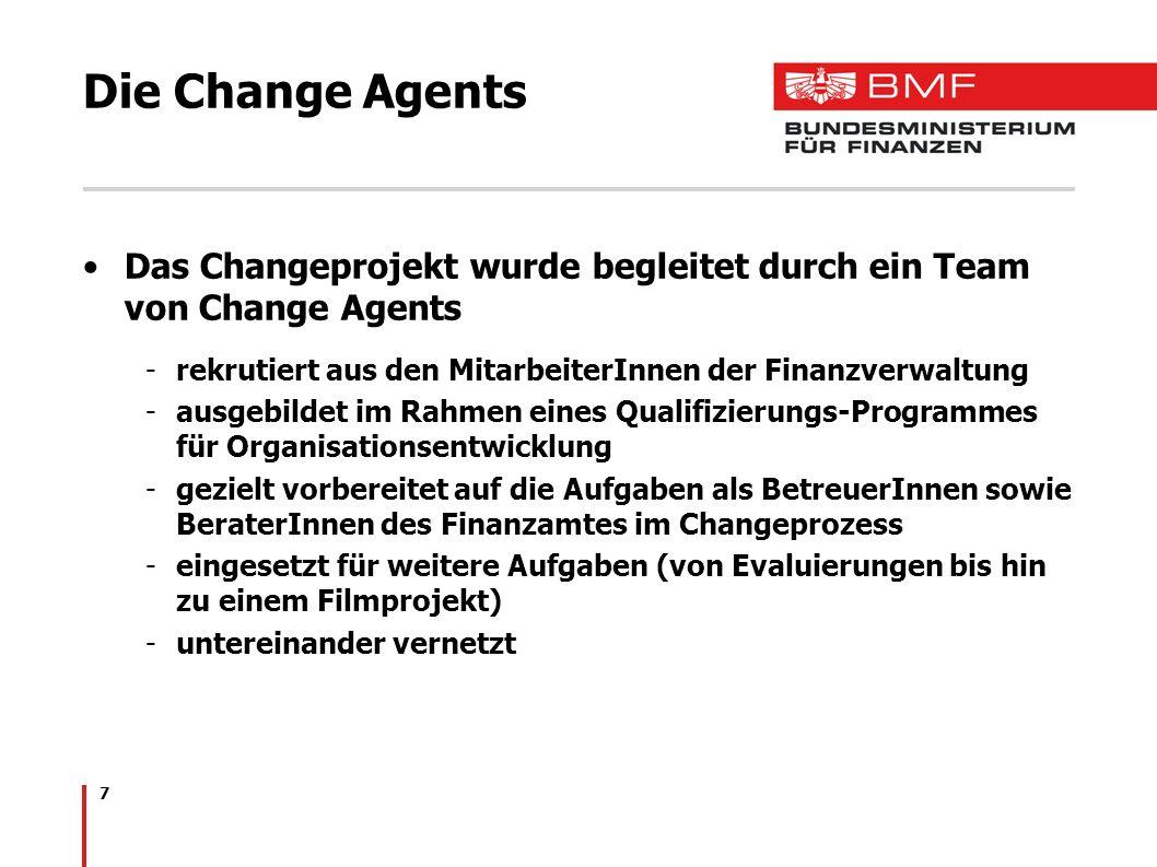 Die Change Agents Das Changeprojekt wurde begleitet durch ein Team von Change Agents. rekrutiert aus den MitarbeiterInnen der Finanzverwaltung.