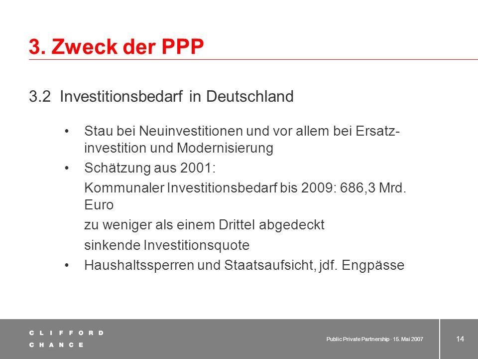 3. Zweck der PPP 3.2 Investitionsbedarf in Deutschland