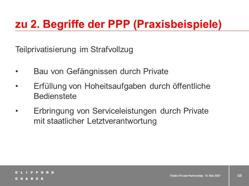 zu 2. Begriffe der PPP (Praxisbeispiele)