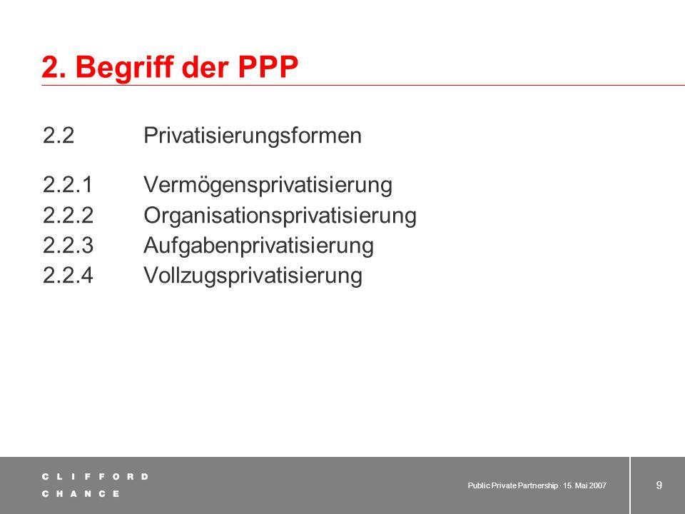 2. Begriff der PPP 2.2 Privatisierungsformen
