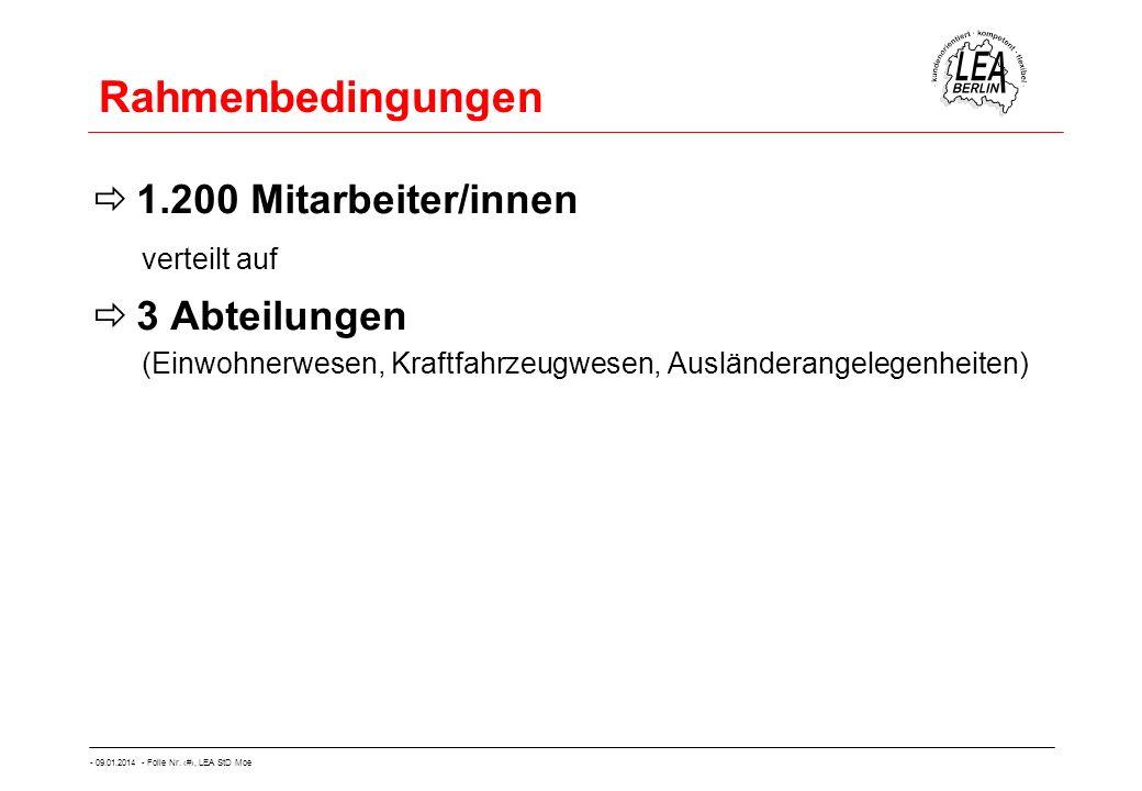 Rahmenbedingungen 1.200 Mitarbeiter/innen 3 Abteilungen verteilt auf