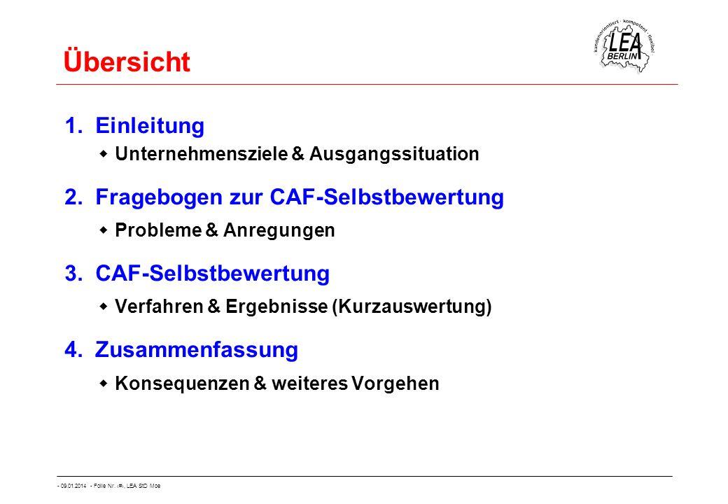Übersicht 1. Einleitung 2. Fragebogen zur CAF-Selbstbewertung