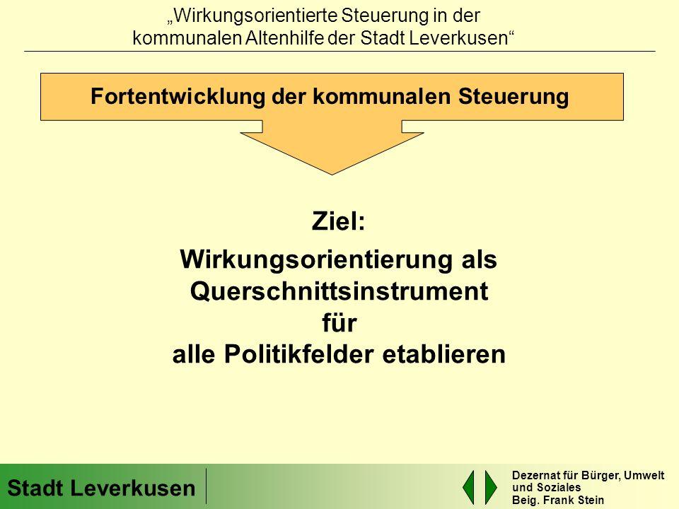 Fortentwicklung der kommunalen Steuerung