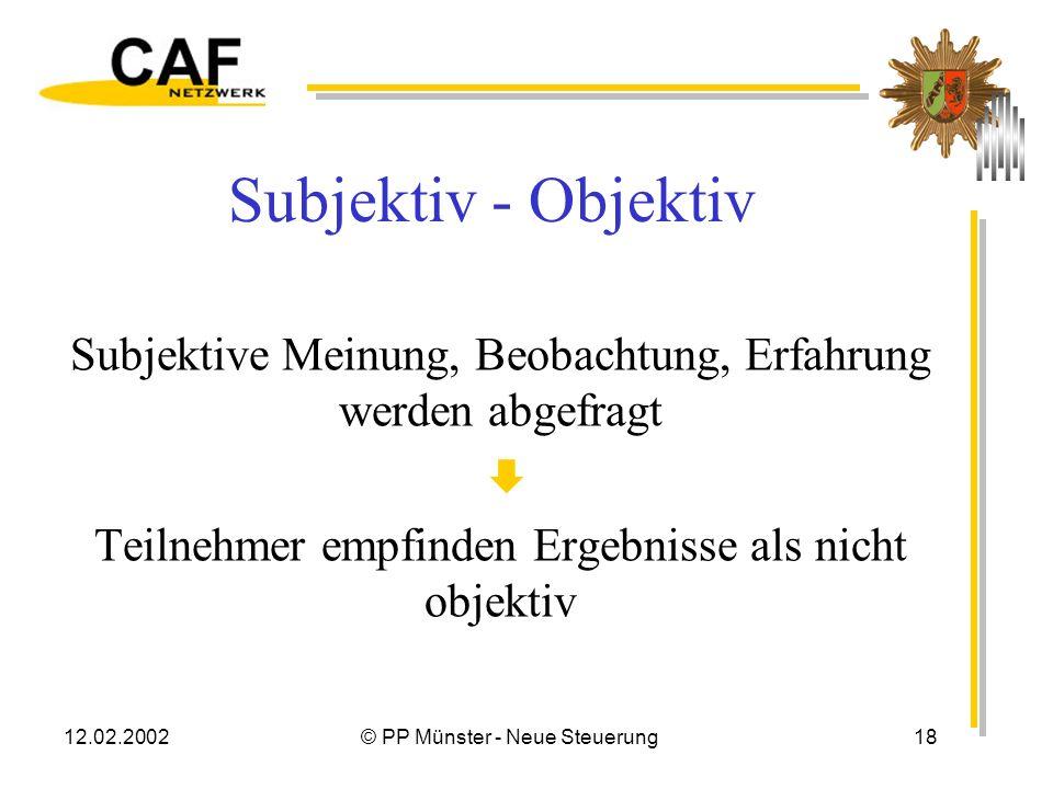Subjektiv - Objektiv Subjektive Meinung, Beobachtung, Erfahrung werden abgefragt.  Teilnehmer empfinden Ergebnisse als nicht objektiv.