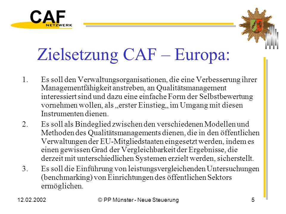 Zielsetzung CAF – Europa: