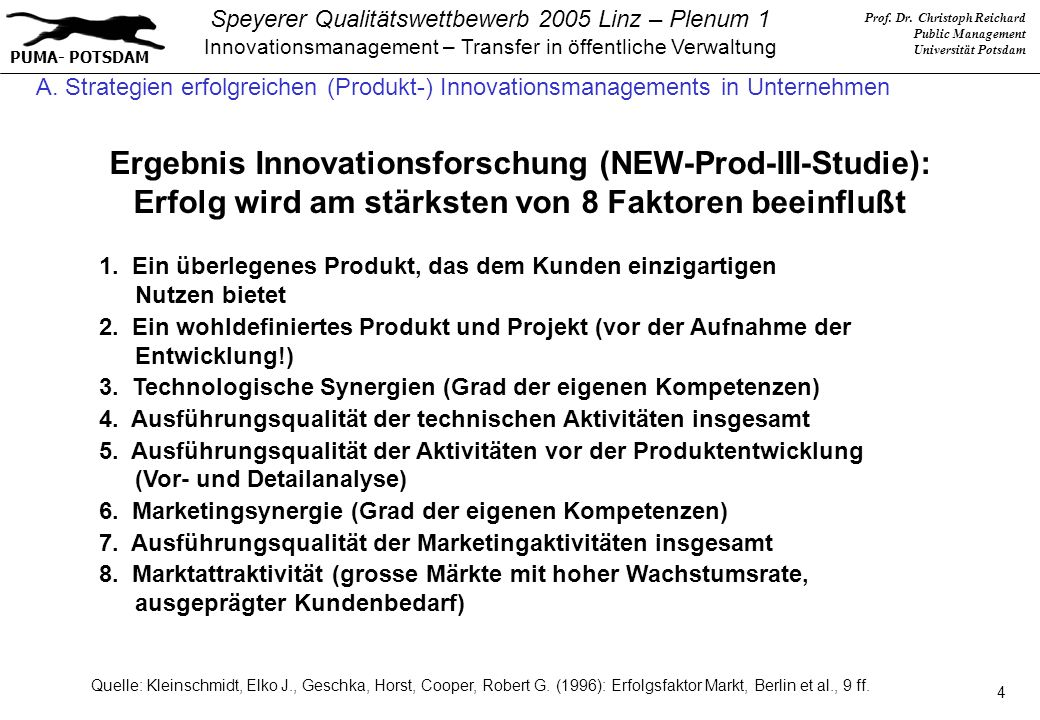 Ergebnis Innovationsforschung (NEW-Prod-III-Studie):