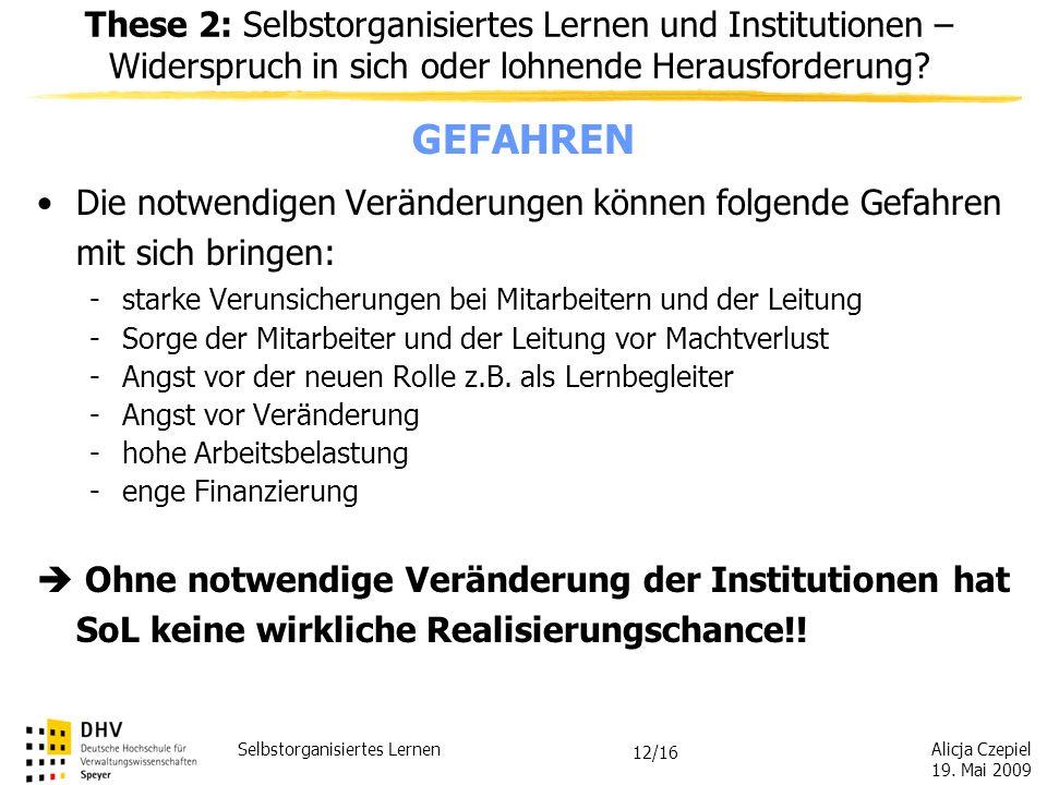 These 2: Selbstorganisiertes Lernen und Institutionen – Widerspruch in sich oder lohnende Herausforderung