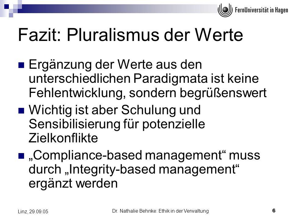 Fazit: Pluralismus der Werte