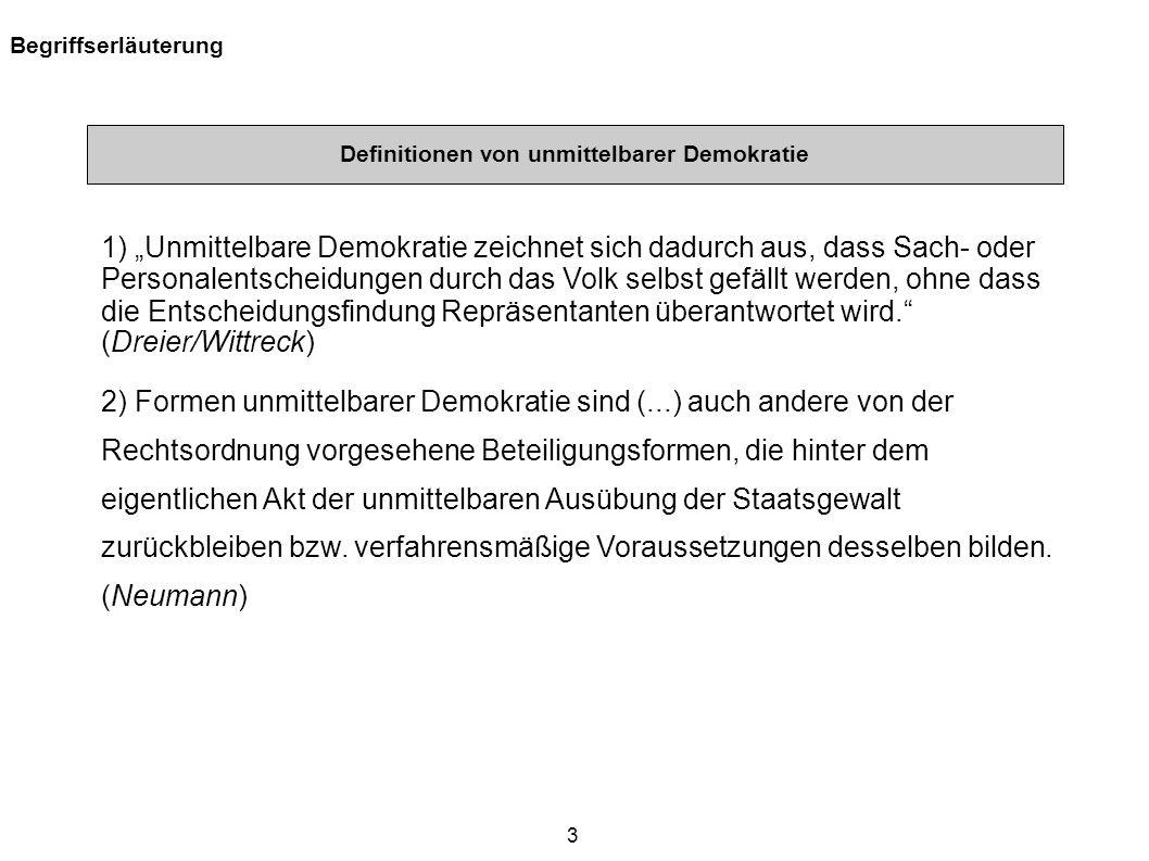 Definitionen von unmittelbarer Demokratie