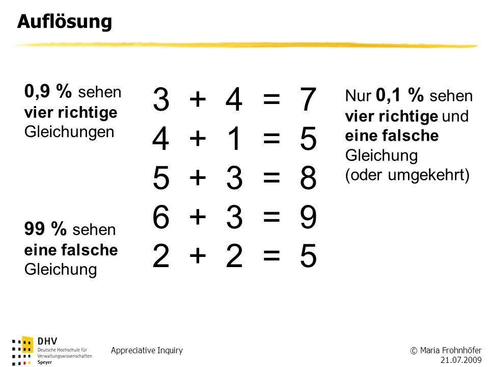 Auflösung 0,9 % sehen. vier richtige Gleichungen. 3 + 4 = 7. 4 + 1 = 5. 5 + 3 = 8. 6 + 3 = 9.