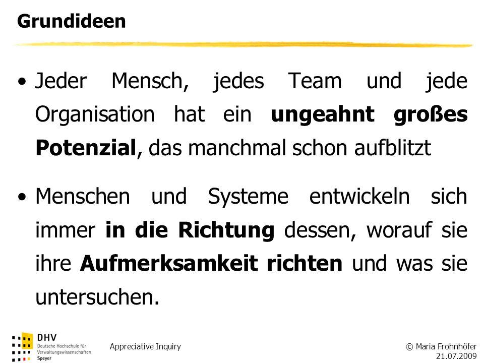 Grundideen Jeder Mensch, jedes Team und jede Organisation hat ein ungeahnt großes Potenzial, das manchmal schon aufblitzt.