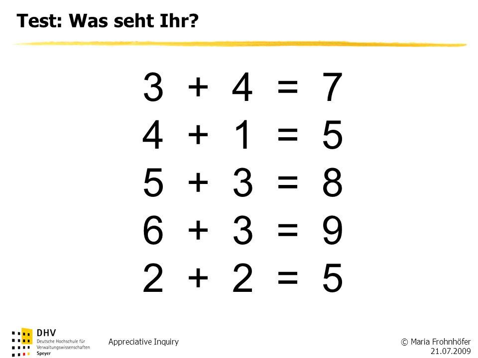 3 + 4 = 7 4 + 1 = 5 5 + 3 = 8 6 + 3 = 9 2 + 2 = 5 Test: Was seht Ihr
