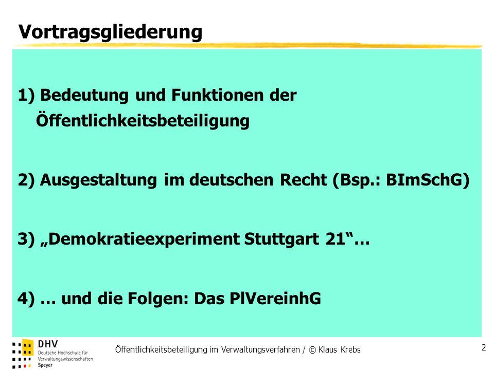 Vortragsgliederung1) Bedeutung und Funktionen der Öffentlichkeitsbeteiligung. 2) Ausgestaltung im deutschen Recht (Bsp.: BImSchG)