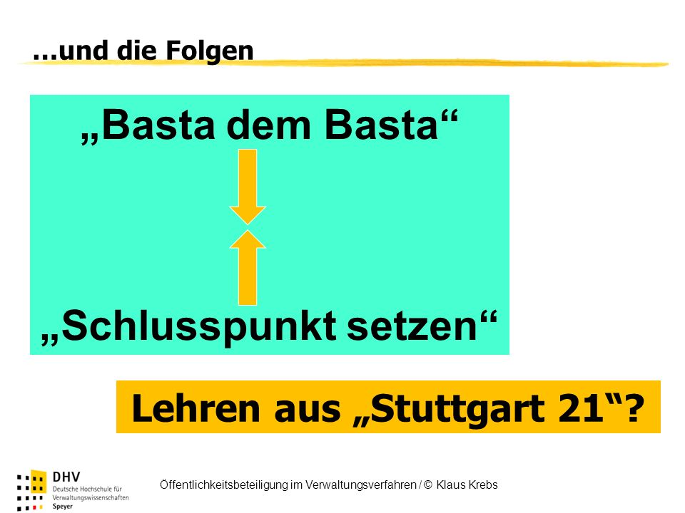 """""""Schlusspunkt setzen Lehren aus """"Stuttgart 21"""