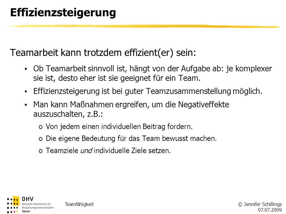 Effizienzsteigerung Teamarbeit kann trotzdem effizient(er) sein: