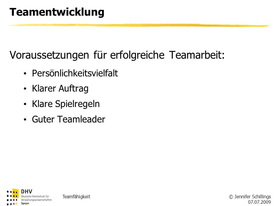 Voraussetzungen für erfolgreiche Teamarbeit: