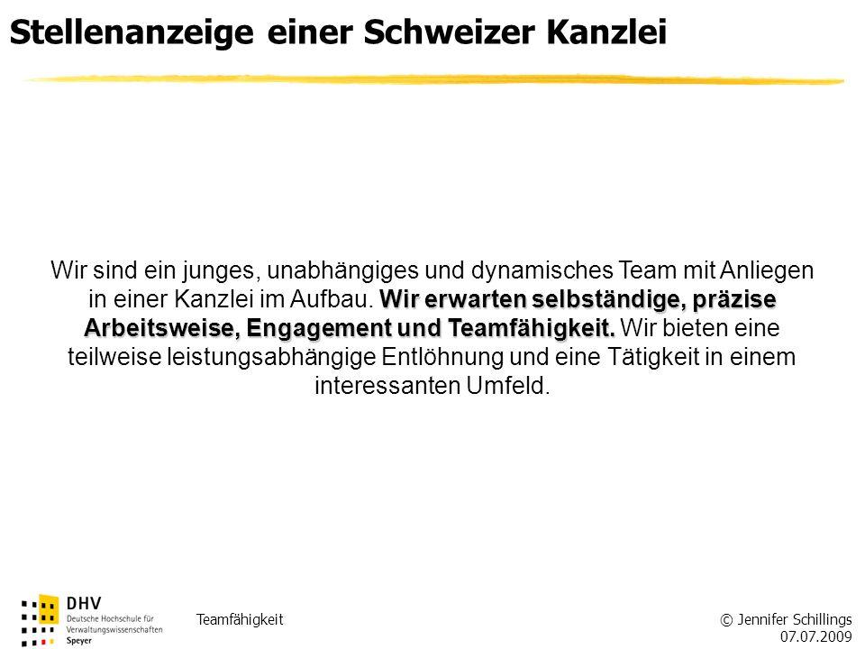 Stellenanzeige einer Schweizer Kanzlei