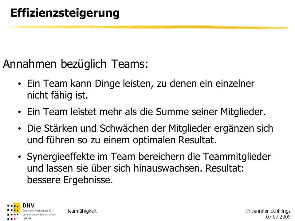 Annahmen bezüglich Teams: