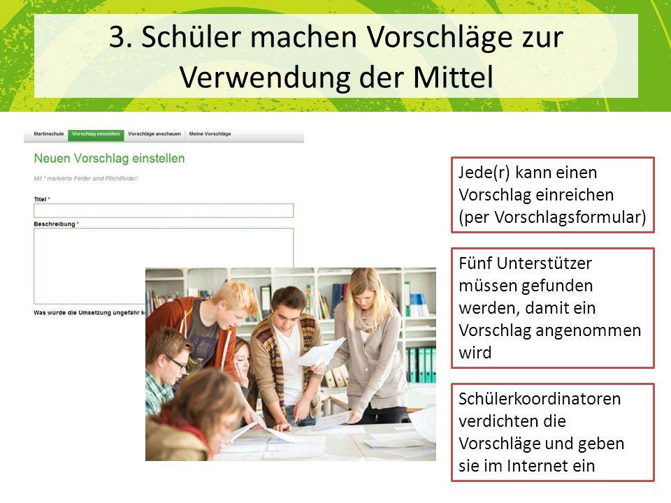 3. Schüler machen Vorschläge zur Verwendung der Mittel