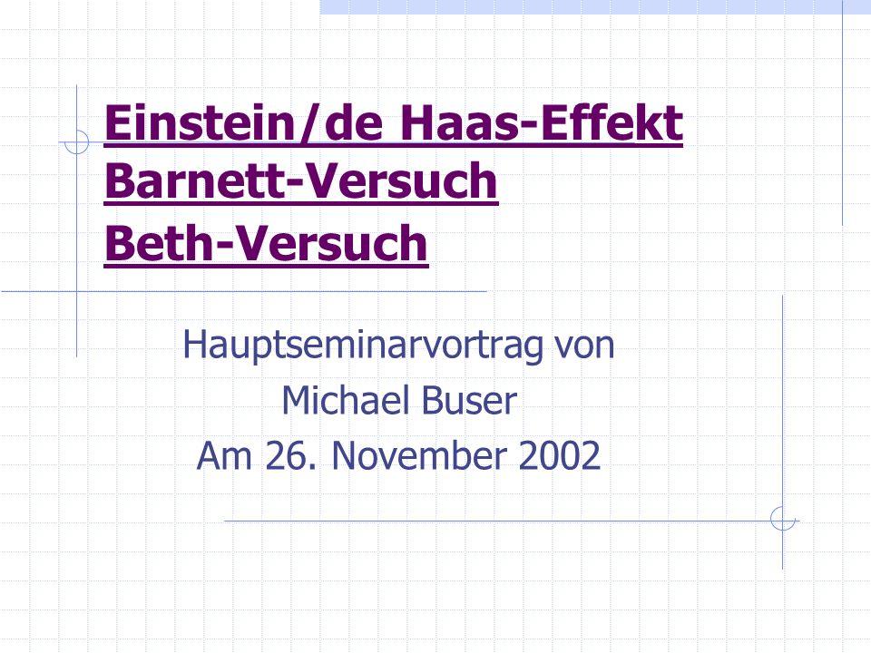 Einstein/de Haas-Effekt Barnett-Versuch Beth-Versuch