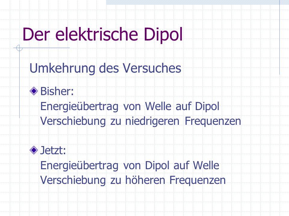 Der elektrische Dipol Umkehrung des Versuches Bisher: