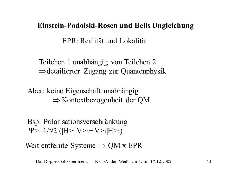 Einstein-Podolski-Rosen und Bells Ungleichung