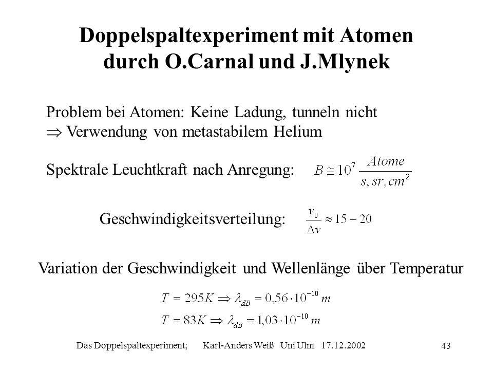 Doppelspaltexperiment mit Atomen durch O.Carnal und J.Mlynek