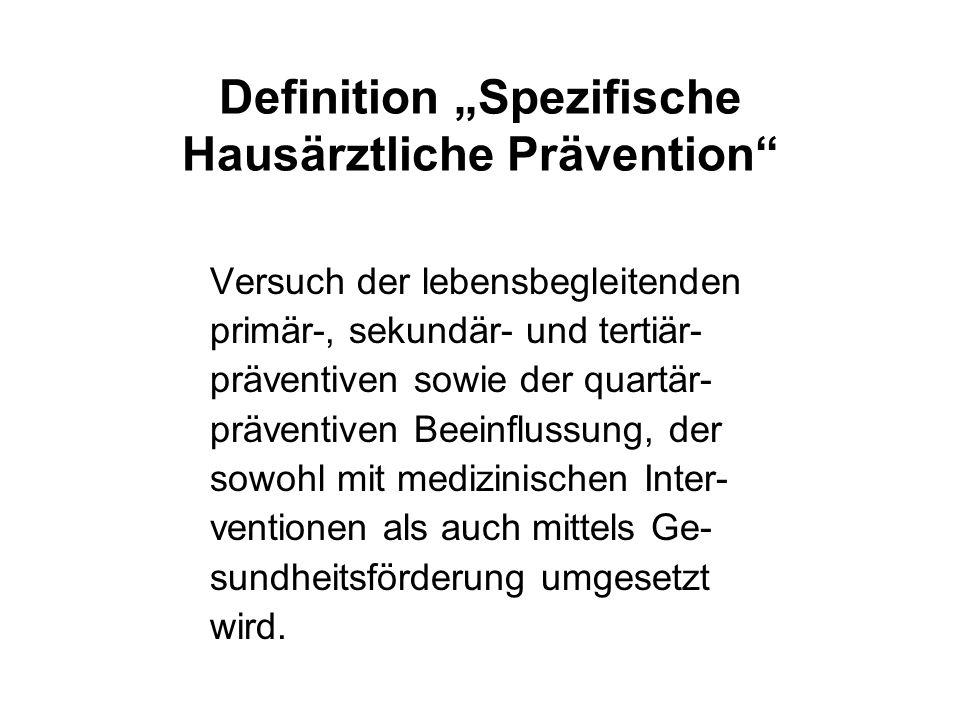 """Definition """"Spezifische Hausärztliche Prävention"""