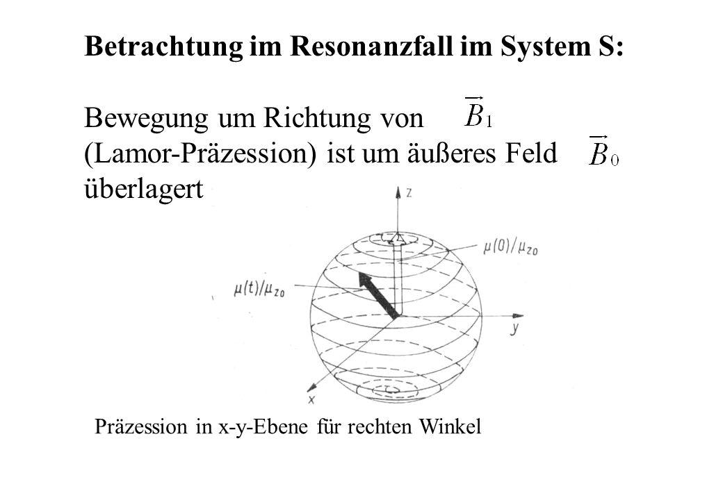 Betrachtung im Resonanzfall im System S: Bewegung um Richtung von